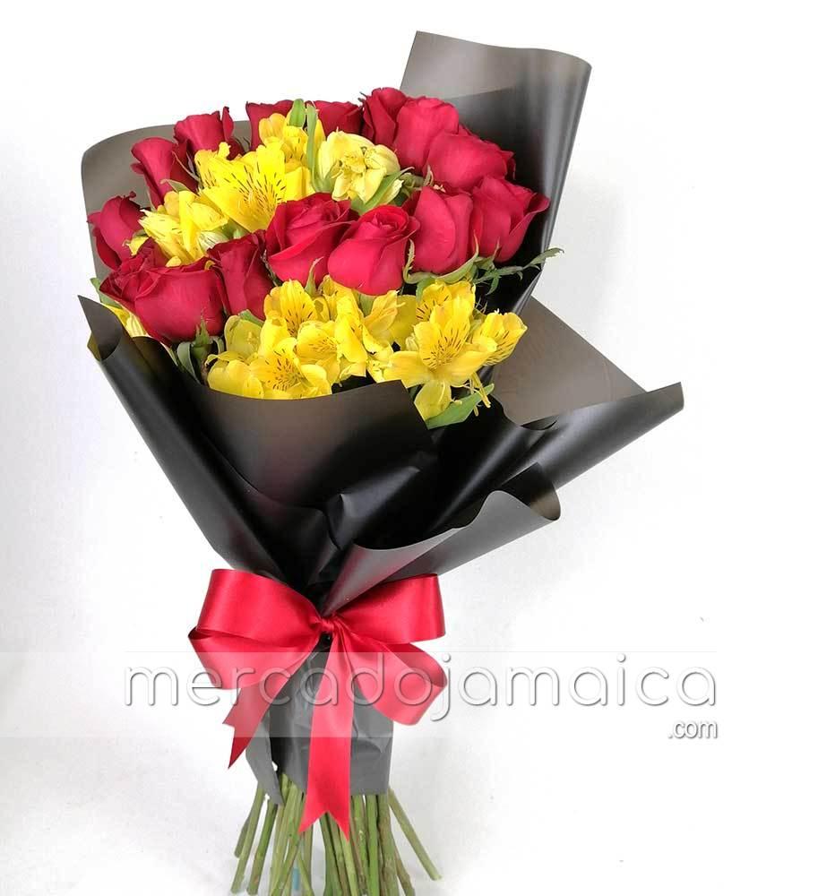 Ramo 15 Rosas y Flores Amarillas