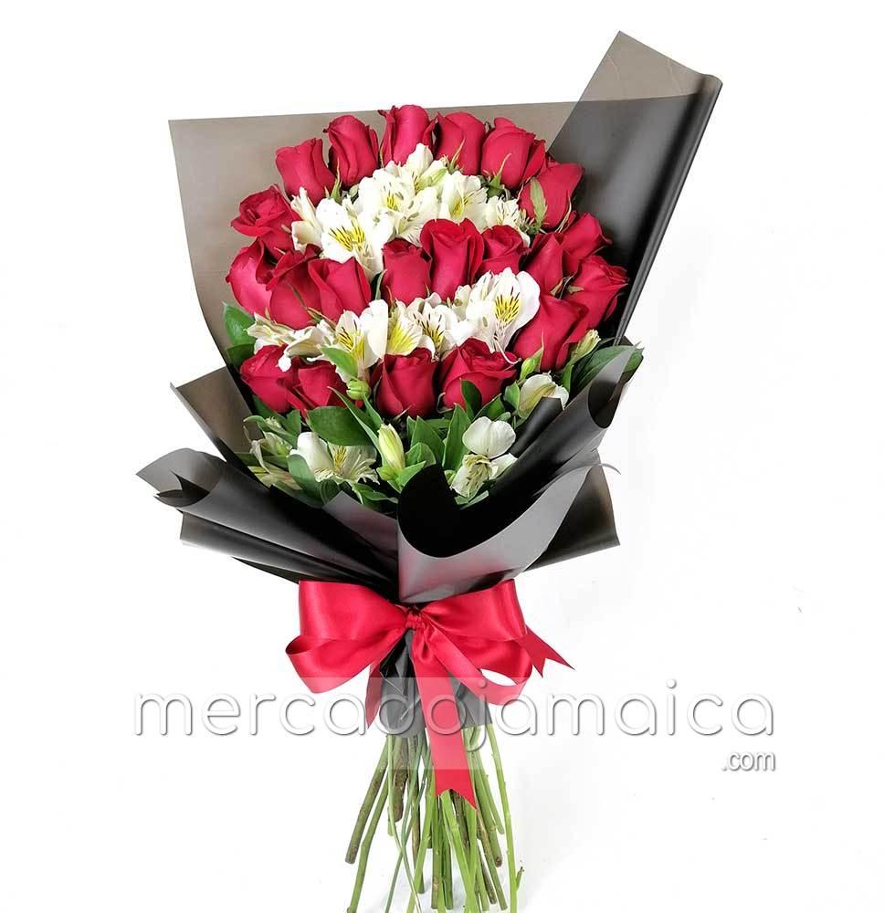 24 Rosas y Flores Blancas