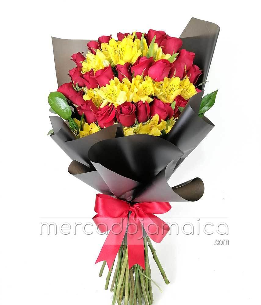 24 Rosas y Flores Amarillas