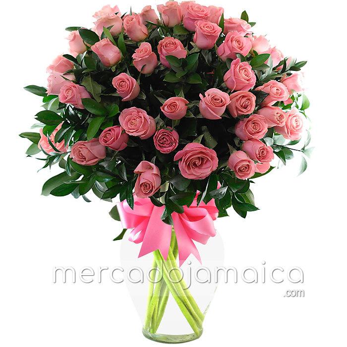 Arreglo Floral 50 Rosas Rosa