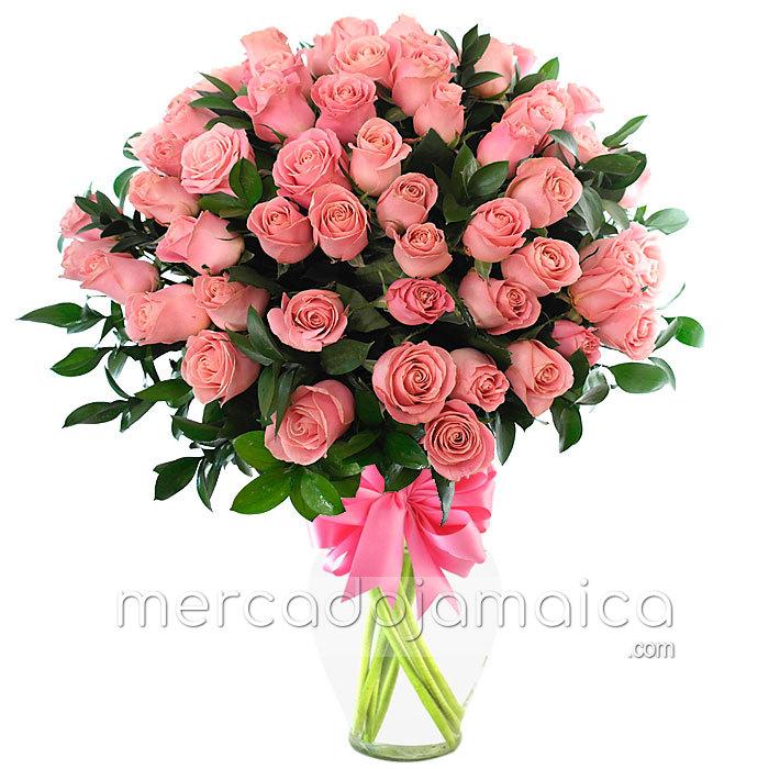 70 Rosas Rosa Hermosas Flores Frescas