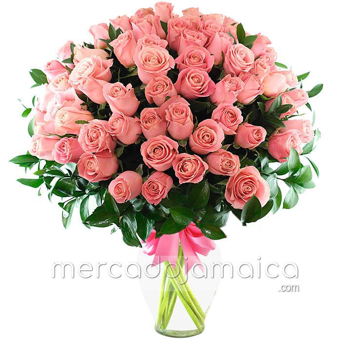 90 Rosas Rosa Jarrones con Flores Frescas