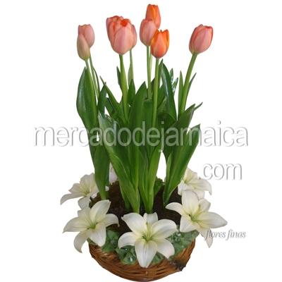 Arreglo con Tulipanes y Lilies Blancas en Canasta !